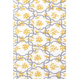 Kids Geo White and Gold Rectangular: 2 Ft 8 In x 4 Ft 8 In Rug