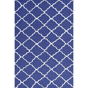 Kids Lattice Navy and White Rectangular: 2 Ft 8 In x 4 Ft 8 In Rug