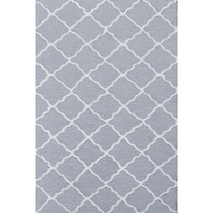 Kids Lattice Grey and White Rectangular: 2 Ft 8 In x 4 Ft 8 In Rug