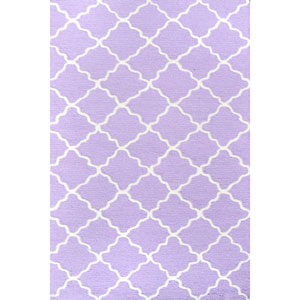 Kids Lattice Lavender and White Rectangular: 2 Ft 8 In x 4 Ft 8 In Rug