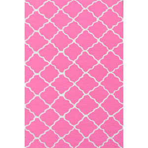 Kids Lattice Hot Pink and White Rectangular: 2 Ft 8 In x 4 Ft 8 In Rug