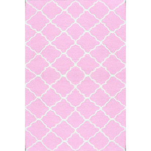 Kids Lattice Pink and White Rectangular: 2 Ft 8 In x 4 Ft 8 In Rug