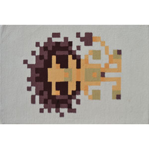 Pixel Lion Multicolor Rectangular: 2 Ft. 8-inch x 4 Ft. 8-inch Area Rug