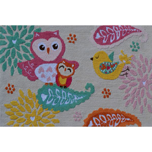 Birds of a Feather Multicolor Rectangular: 2 Ft. 8-inch x 4 Ft. 8-inch Area Rug