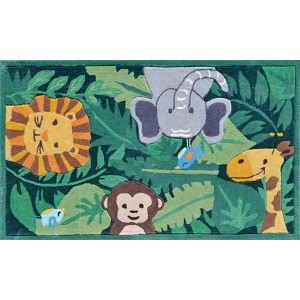 Animal Green and Gray Rectangular: 2 Ft. 8 In. x 4 Ft. 8 In. Rug