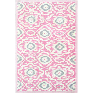 Kids Kidi Ikat Pink and Green Rectangular: 2 Ft 8 In x 4 Ft 8 In Rug