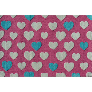 Math Dot Pink Rectangular: 2 Ft. 8-inch x 4 Ft. 8-inch Area Rug