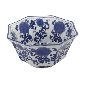 Blue and White Floral Patterned Bowl