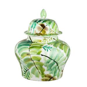 Green 14-Inch Round Leaf Jar with Lid