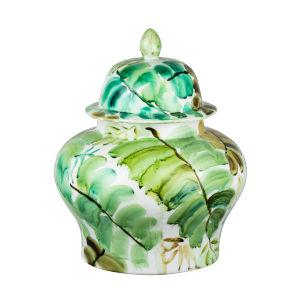 Green 12-Inch Round Leaf Jar with Lid