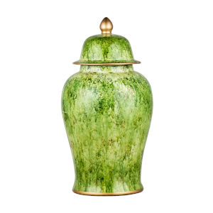 Green 9.5-Inch Round Painted Jar with Lid