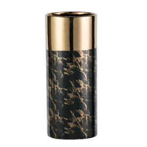 Gloss Black and Gold Ceramic Vase, Tall