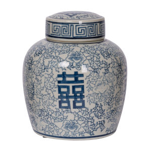 Berit Blue and White Jar with Lid, Medium