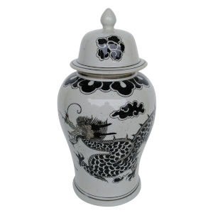 Dorete White And Black Ginger Jar