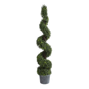 Green 60-Inch Spiral Boxwood Topiary