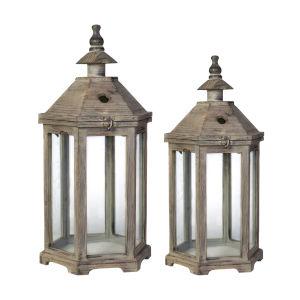Natural Graca Polygon Temple Garden Lantern, Set of 2
