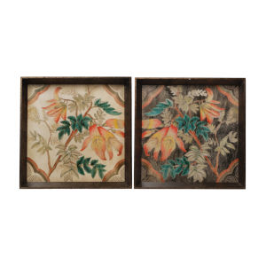 Brown And Multicolor Floral Tray, Set of 2