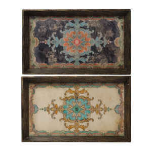 Brown And Blue Tray, Set of 2