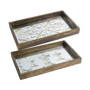 Greta Natural Wood Tray With Rectangular Glass