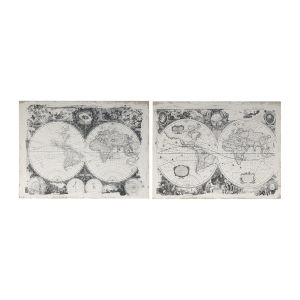 Danica Black And White Antique Map Wall Art, Set of 2