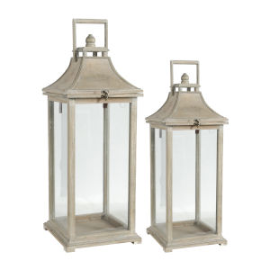 Ivona White Garden Candle Lantern, Set of 2