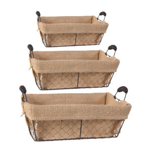 Joyce Brown Basket With Canvas Cloth, Set of 3