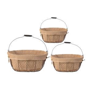 Joyce Beige Oval Basket With Canvas Cloth, Set of 3