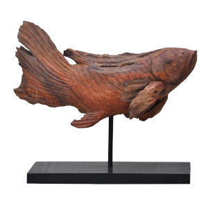 Brown Dragon Koi Sculpture