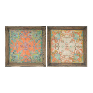 Aged Light Brown And Peach Tray, Set of 2