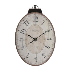 Thaddeus Antique White Oval Wall Clock