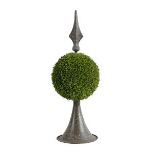 Antique Bronze And Green Spired Sphere Boxwood Topiary