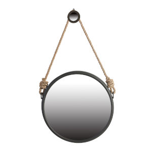 Cleveland Gray Rope Strap Mirror with Hanger, Small
