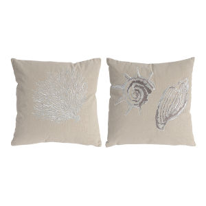 Tan And White Seashell Pillow, Set of 2