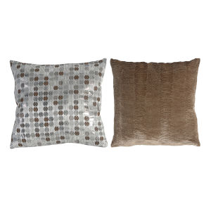 Tan And Silver Pillow, Set of 2