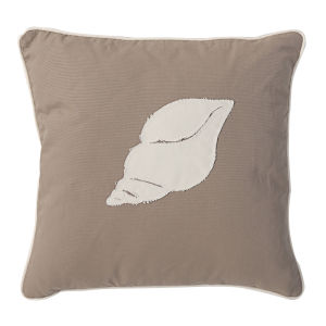Sandy Brown And White Conch Shell Pillow