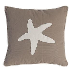 Sandy Brown And White Starfish Pillow