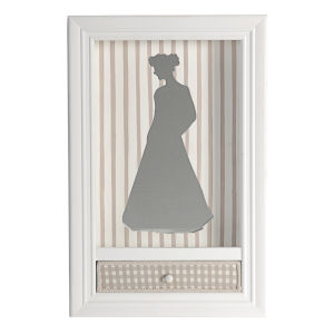 White Shadowbox Wall Decor With Pull Out Shelf