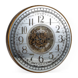 Gold And White Round Wall Clock
