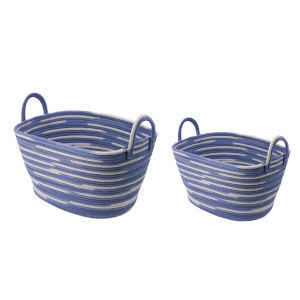Blue and White Oval Basket with Handles, Set of 2