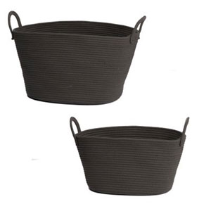Lorne Oval Charcoal Baskets, Set of Two