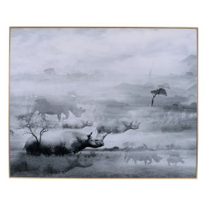 Foggy White And Black Waterscape Wall Art With Frame