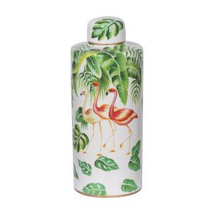 Lovise Green And White Flamingo Jar