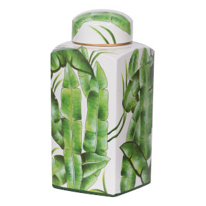 Lovise Green And White Palm Square Jar
