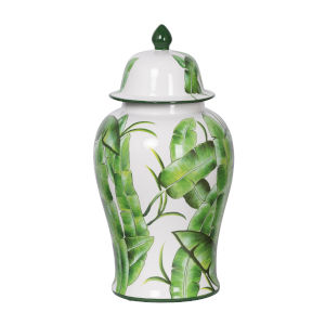 Lovise Green and White Palm Lidded Urn, Tall