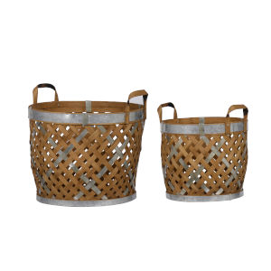 Natural And Silver Round Woven Basket, Set of 2