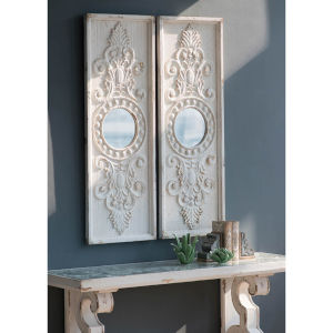Southern Living Antique WHite Decorative Wall Panel ,Set of 2