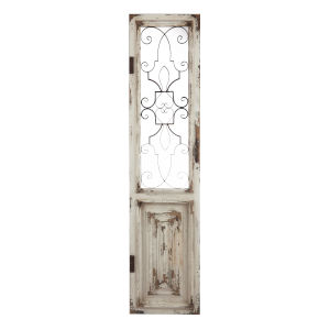 Distressed Cream and Black Iron Decorative Door