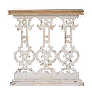Distressed Cream and Light Brown Console Table