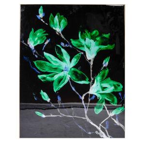 Black and Green Flower Print Wall Art
