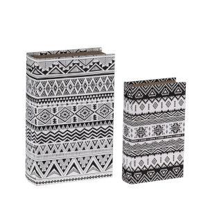 Gray Geometric Book Boxes, Set of 2